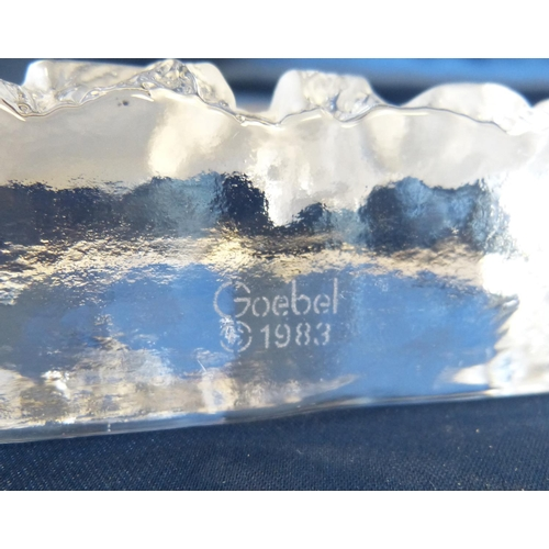143 - A Goebel Frosted Glass Paperweight having Rhinoceros decoration, also 2 other frosted glass paperwei...