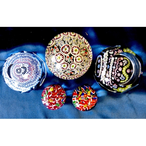144 - A 1952 Coronation Paperweight and 4 other similar Millefiori style paperweights (5)...