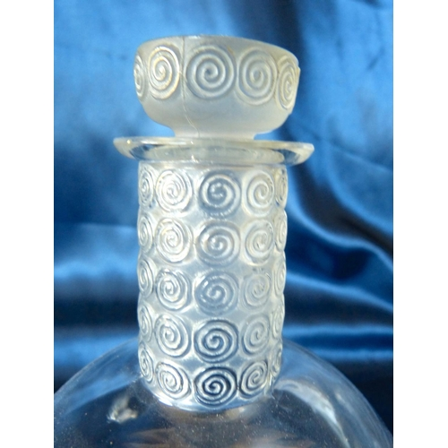 145 - An Lalique Frosted Bulbous Thin Neck Decanter with stopper and 6 matching glasses having raised scro...