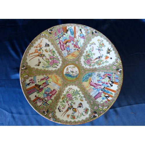 15 - A Cantonese Round Charger having multicoloured ground depicting figure, bird, butterfly, floral and ...