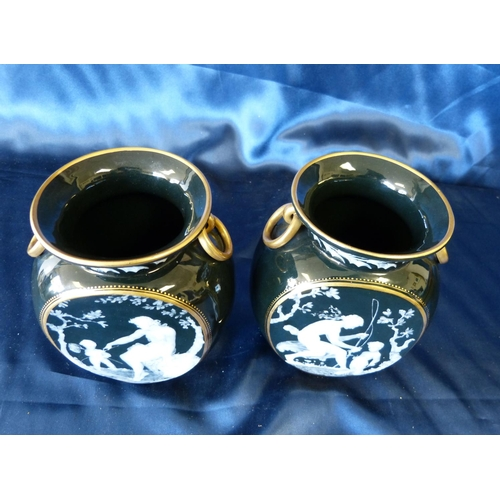 152 - A Pair of Frederick Schenck Pate-Sur-Pate Bulbous Thin Neck Trumpet Shape Vases having ring handles ...