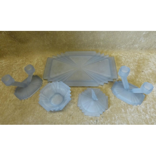 157 - An Art Deco Bagley Frosted Blue Glass 4-Piece Dressing Table Set, comprising rectangular shaped tray...
