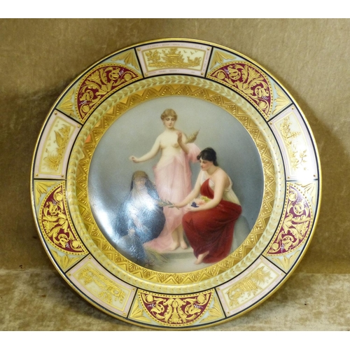 163 - A Vienna Round Porcelain Plate having multicoloured centre depicting a half naked lady and 2 further...