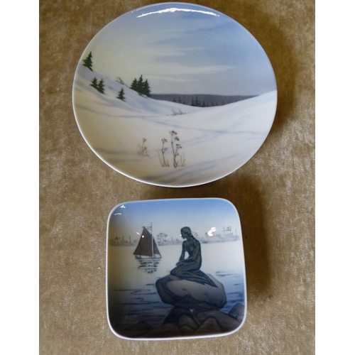 168 - A Royal Copenhagen Plate depicting winter landscape Number 1135 and a small square Royal Copenhagen ...