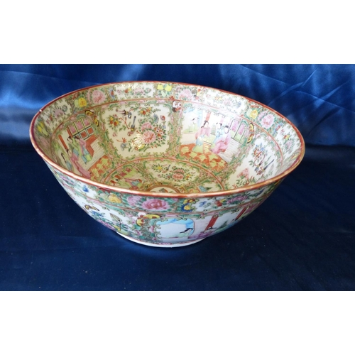 17 - A 19th/20th Century Cantonese Round Trumpet Shape Fruit Bowl on multicoloured ground having figure, ...