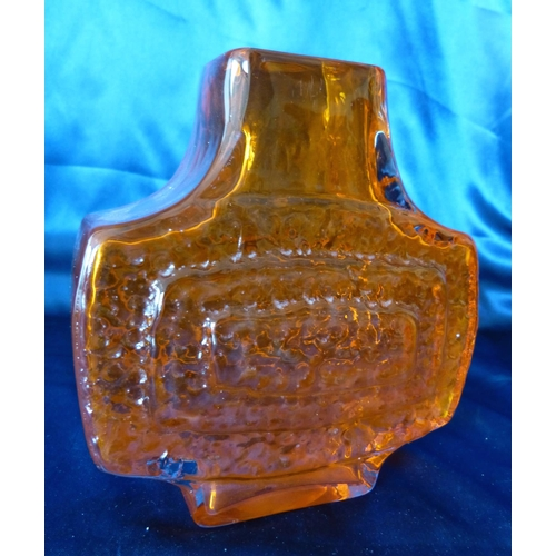 183 - A Whitefriars Geoffrey Baxter Tangerine TV Glass Vase, 17cm high...