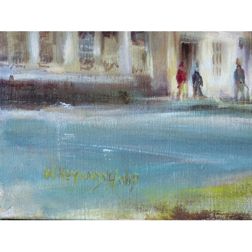 190 - W Reynard Hood Oil on Canvas depicting figures in street scene outside church, signed and unframed, ...