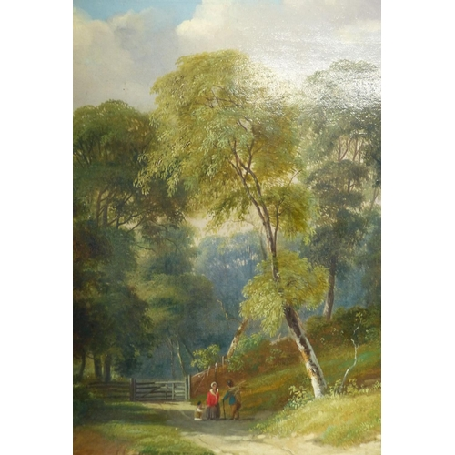 192 - A 19th Century Oil on Canvas depicting figures on country path near river wooded landscape, monogram...
