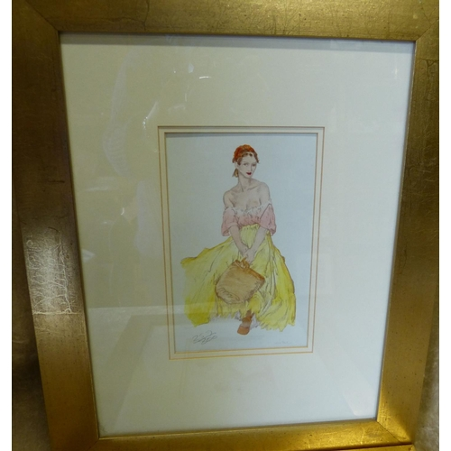 194 - A Pair of Russell Flint Coloured Prints depicting half naked ladies, numbered in pencil  in gilt fra...