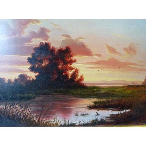 197 - A Modern Oil on Board river landscape at sunset with farmer and sheep on bank, indistinctly signed, ...
