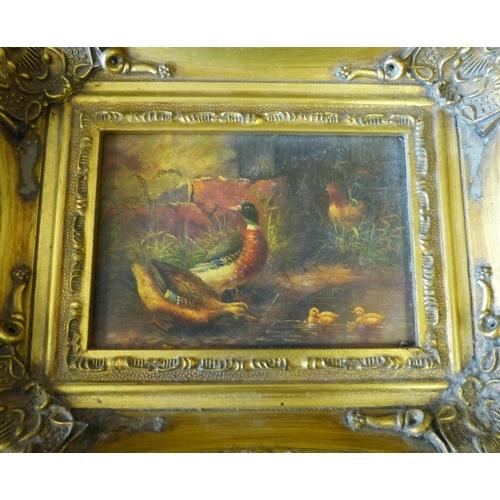 199 - A Modern Print on Canvas depicting figures on beach, in heavy gilt frame, 11.5cm x 17cm also a small...