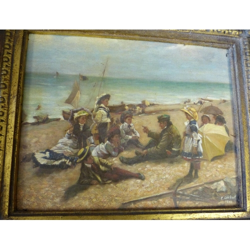 200 - A Modern Oil on Canvas depicting children seated on beach, in gilt frame, 19cm x 24cm...