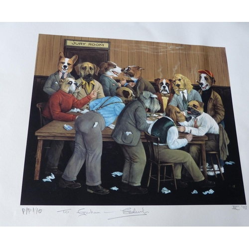 202 - Edwin Cripps 3 x Comical Signed Limited Edition Coloured Prints depicting dogs as humans, all unmoun...