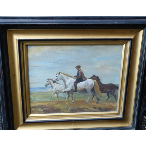 203 - After Munnings Modern Oil on Canvas depicting figure riding bare back with two other horses, unsigne...