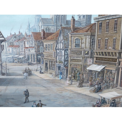 204 - Edwin Cripps Oil on Canvas depicting figures and horse drawn carriages in street scene, signed, fram...