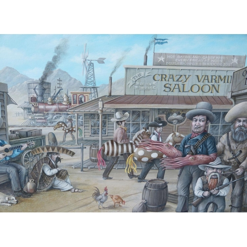 205 - Edwin Cripps Oil on Canvas depicting Wild West scene, signed and dated, framed, 44cm x 75cm...