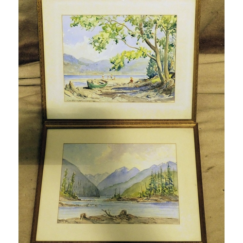 206 - C, De T Cunningham Pair of Watercolours depicting figures on lake side near rowing boat, both signed...