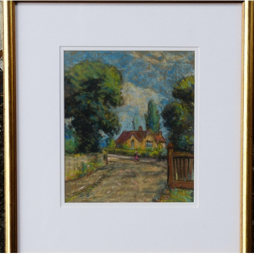 208 - Hercules Brabazon Brabazon Pastel depicting figure on country road outside cottage, monogrammed in g...