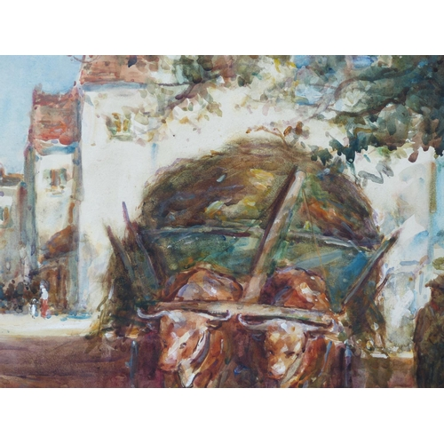 209 - Thomas William Morley Watercolour depicting figures and hay cart in village street scene, signed and...