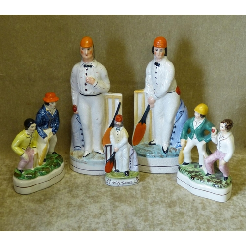 21 - 5 x Modern Staffordshire Figures of cricketers, largest 26cm high...