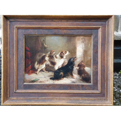 210 - George Armfield Oil on Canvas, five dogs waiting by door, signed and dated 1865 in oak and gilt fram...