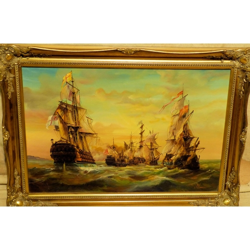 213 - A Modern Oil on Canvas depicting battle of Galleons indistinctly signed, in gilt frame, 49cm x 75cm...
