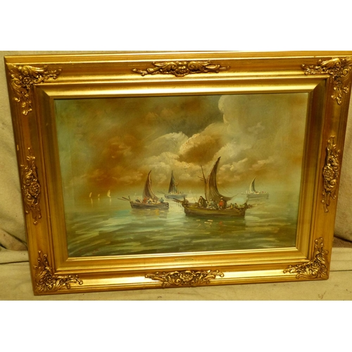 214 - V Bonetti Modern Oil on Canvas depicting various figures in boats on calm waters, signed, in gilt fr...