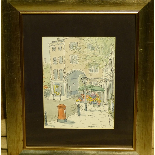 215 - Plant Watercolour depicting street scene with arch in background , signed, in silvered frame, 23.5cm...