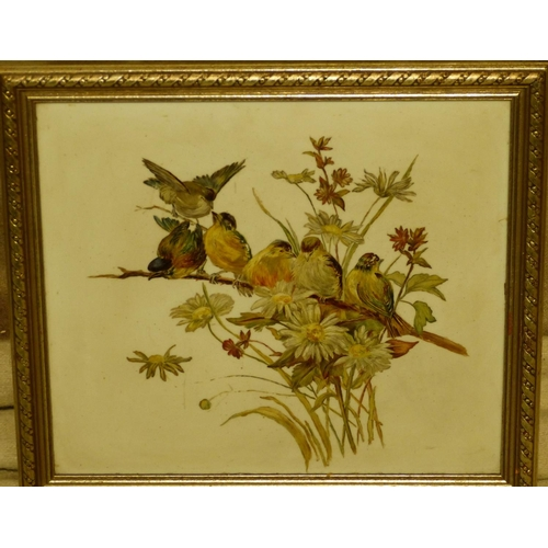216 - An Oil on Opaline depicting 6 perched birds, unsigned, in silvered frame, 27cm x 30.5cm...