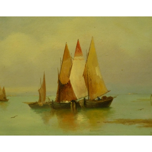 217 - A Gabardi? Oil on Board depicting moored sailing boats in calm waters, indistinctly signed, framed, ...