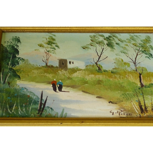 218 - A Pair of Continental Modern Oil on Canvas depicting figures on country path with buildings in backg...