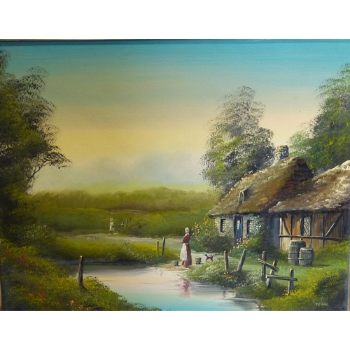 219 - Gravburn Modern Oil on Canvas depicting lady outside thatched cottage near water's edge, signed, in ...