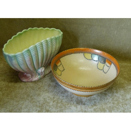 22 - Crown Ducal Round Fruit Bowl having coloured decoration, 23cm diameter also a Silvac shell shape vas...