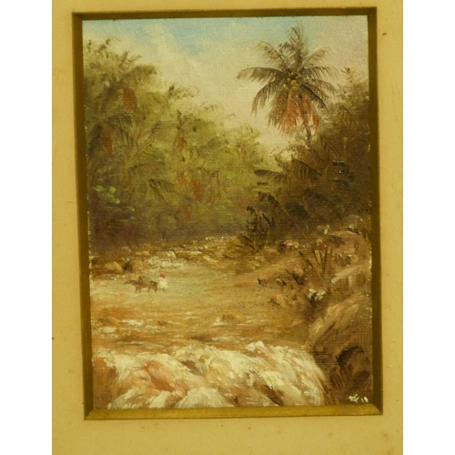 221 - 3 x Eastern Oil on Cards depicting river landscapes etc, all indistinctly signed, in oak frames, lar...