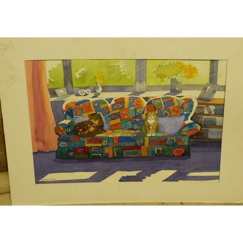 222 - Kate Field Watercolour depicting 2 x cats seated on a multicoloured sofa, signed, mounted but unfram...