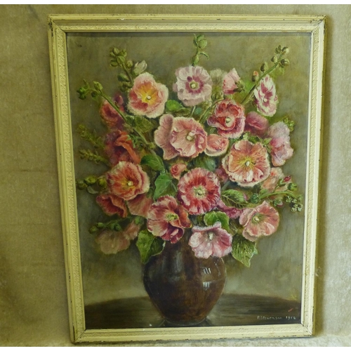 223 - P Stevenson Oil on Canvas still life vase of flowers, signed and dated 1954, in white painted frame,...