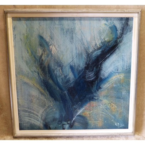 224 - C Sena Oil on Canvas abstract, indistinctly signed, in silvered frame, 59cm x 59cm...