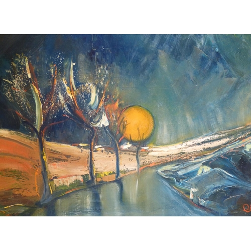 225 - C Sena? Oil on Canvas depicting country road sunset, indistinctly signed, signed and dated to revers...
