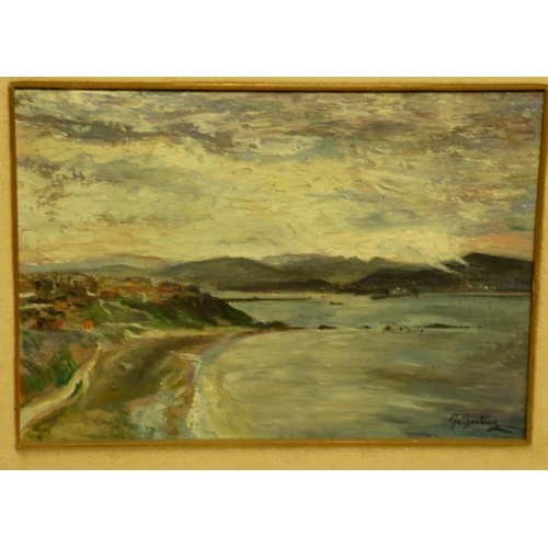 228 - B Basteur? Oil on Board Seascape depicting houses on shoreline, indistinctly signed, in gilt frame, ...