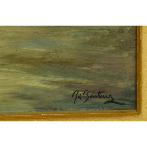 228 - B Basteur? Oil on Board Seascape depicting houses on shoreline, indistinctly signed, in gilt frame, ...
