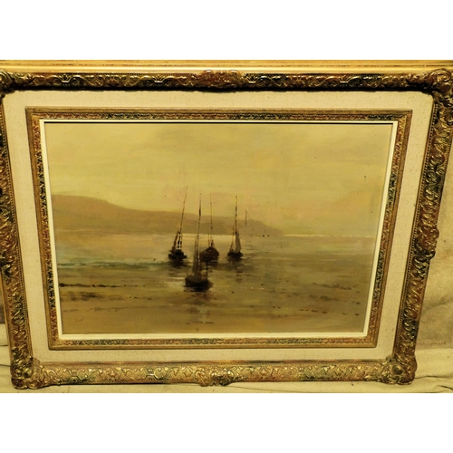 230 - Connell Marine Oil on Canvas depicting 4 x sailing boats at low tide, signed, in Hessian and gilt fr...