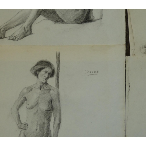 231 - Colles, 8 Early 20th Century Charcoal Sketches depicting female nude, all unframed, approximately 38...