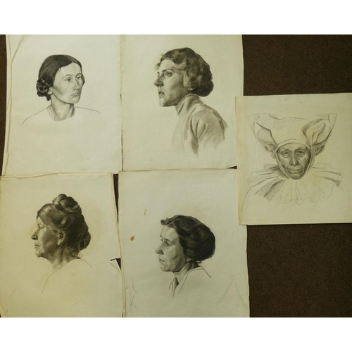 233 - Colles, 11 Early 20th Century Charcoal and Pencil Sketches shoulder length portrait of gentlemen and...