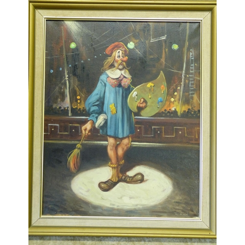 234 - Treblaen Oil on Canvas depicting clown artist, signed in gilt frame, 49cm x 39cm...