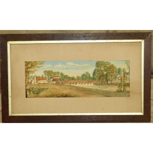 235 - A Watercolour depicting figure on tow path having arched bridge and buildings in background, unsigne...