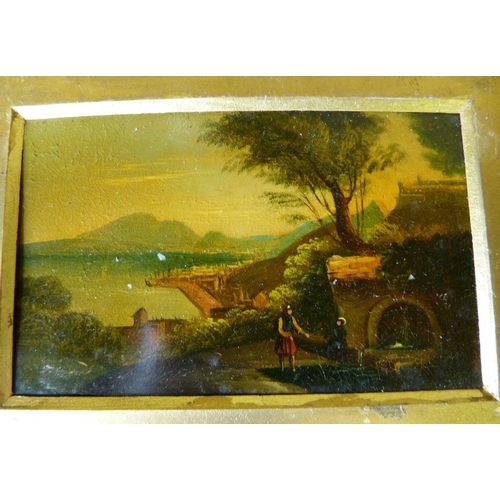 236 - A Pair of Small 19th Century Oil on Metal depicting figures on hilltops with river landscapes and bu...
