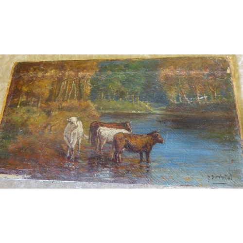 237 - P Bonhotal Small Oil on Panel depicting Cattle on water's edge signed, unframed 12cm x 22cm, also an...