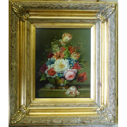 238 - A Modern Oil on Board, Still Life Vase of Flowers in gilt frame, 24cm x 19cm...