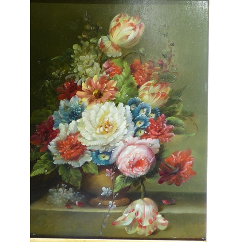 238 - A Modern Oil on Board, Still Life Vase of Flowers in gilt frame, 24cm x 19cm...