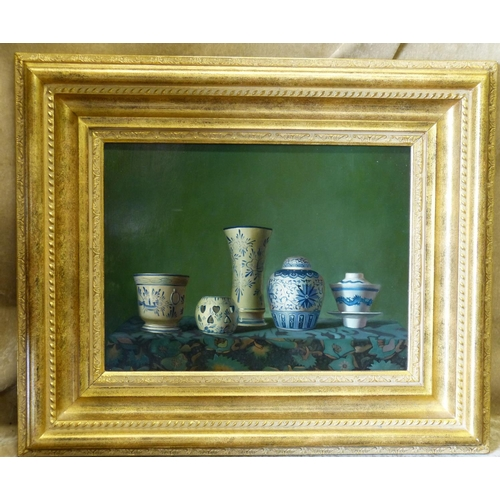 239 - A Modern Oil on Board, Still Life Shelf of Blue and White China, 29cm x 39.5cm...
